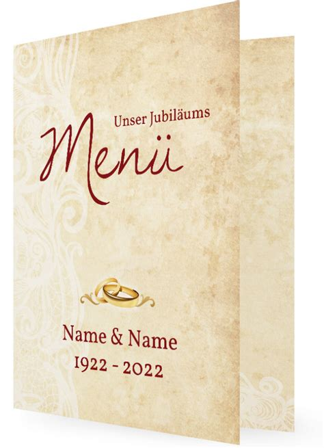 hochzeitsjubilaeum menuekarte gestalten familieneinladungende