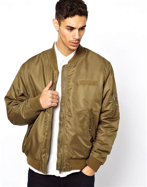 lyst cheap monday bomber jacket in natural for