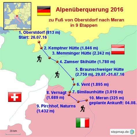 stepmap alpenueberquerung  landkarte fuer deutschland