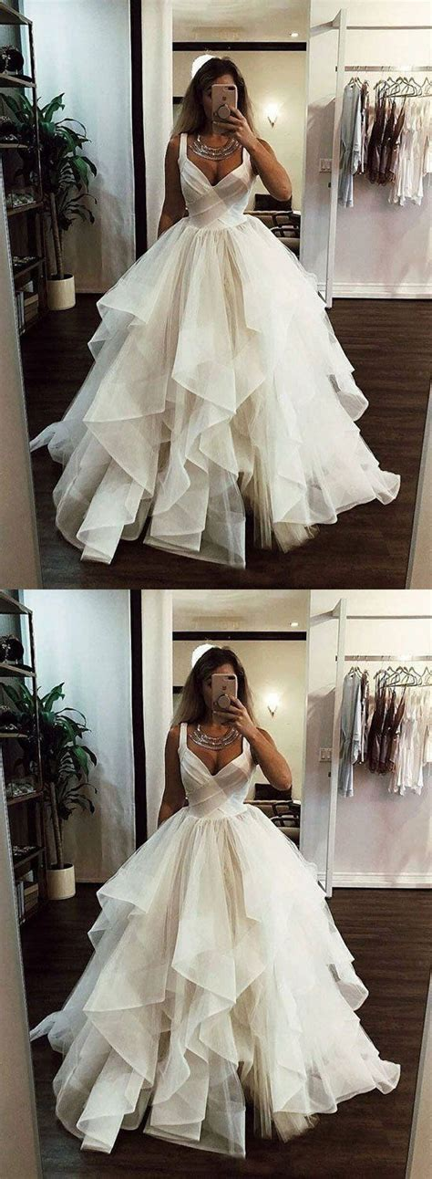 If you have any questions about the availability, please contact us. Charming V neck Tulle Ruffles Ball Gown Prom Dresses ...