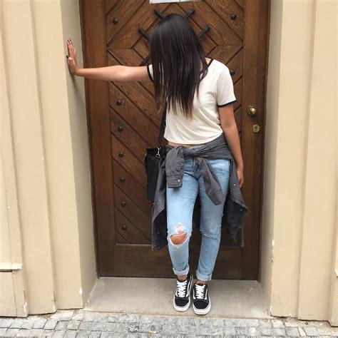 Sandra - Hu0026M Ripped Jeans Hu0026M Parka Vans Old Skool Topshop Top - Back to school | LOOKBOOK