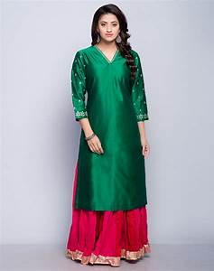 Buy Fabindia Green Silk Cotton Embroidered Detail Long