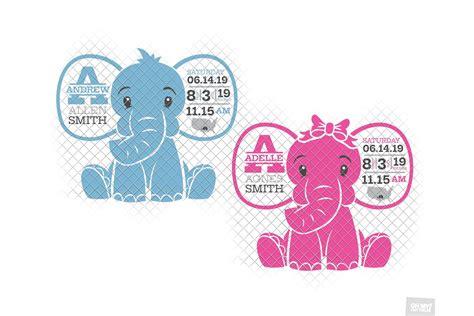 1200 x 800 jpeg 203 кб. Elephant Birth Announcement SVG Ear Birth Stats Template ...