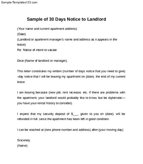 days notice letter  landlord paystub format