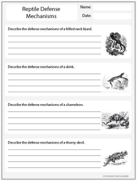 reptile defense mechanisms worksheet 1 science skills