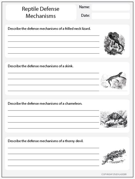 Reptile Defense Mechanisms Worksheet 1, Science Skills Online, Interactive Activity Lessons