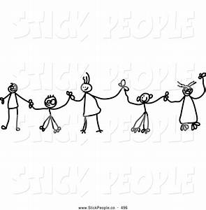 Children Holding Hands Clipart – in Black And White – 101 ...