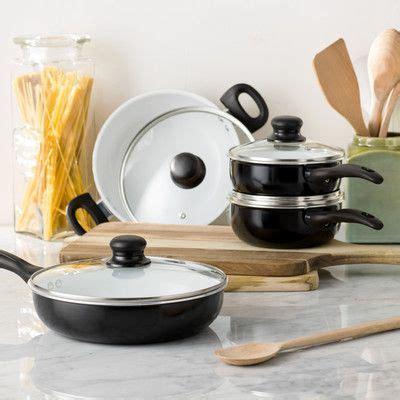 wayfair basics wayfair basics  piece  stick ceramic cookware set color black white