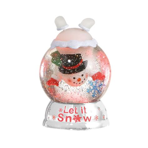 christmas snowman let it snow globe dome acrylic lighted