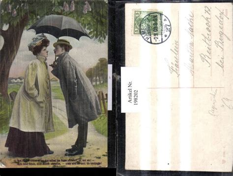 198202 liebe liebespaar vor einen kuss regenschirm schirm gedicht ansichtskarten motive thematik