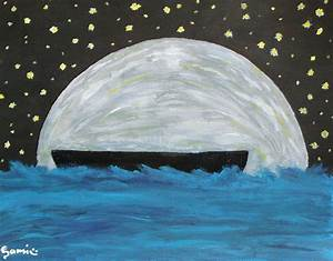 Samis Painting Of A Boat With The Moon And Stars And Stuff ...