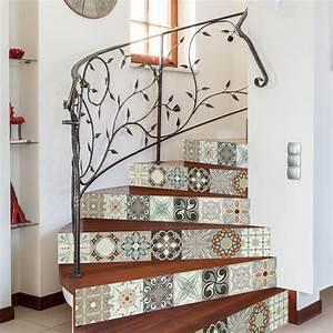 Escalier Carreaux De Ciment : stickers escalier carreaux de ciment esteban x 2 ambiance ~ Dailycaller-alerts.com Idées de Décoration