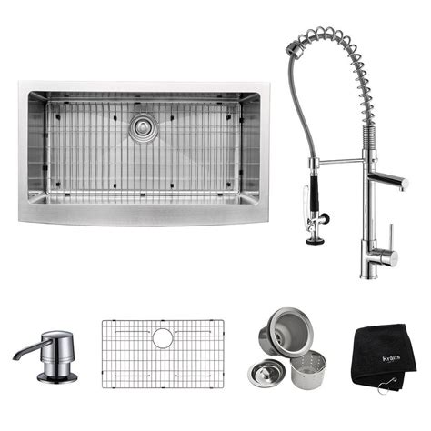 all in one kitchen sink kraus all in one farmhouse apron front stainless steel 36