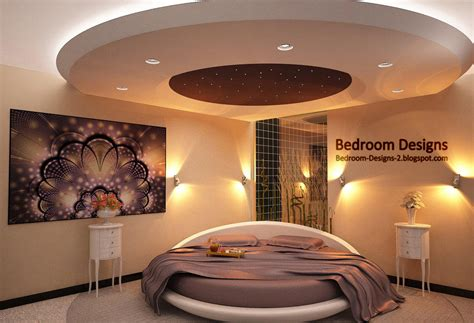 modern bedroom design idea with gypsum board ceiling