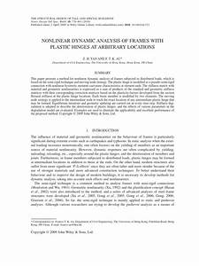 Nonlinear Dynamic Analysis Of Frames With Plastic Hinges