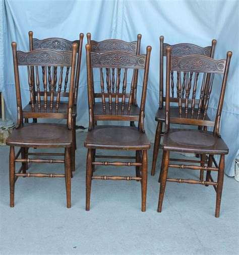 antique oak chairs antique set of six matching carved or pressed back chairs 1293