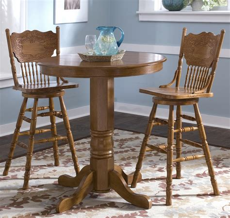 pub table and two chairs 3 piece round pub table dining set by liberty furniture