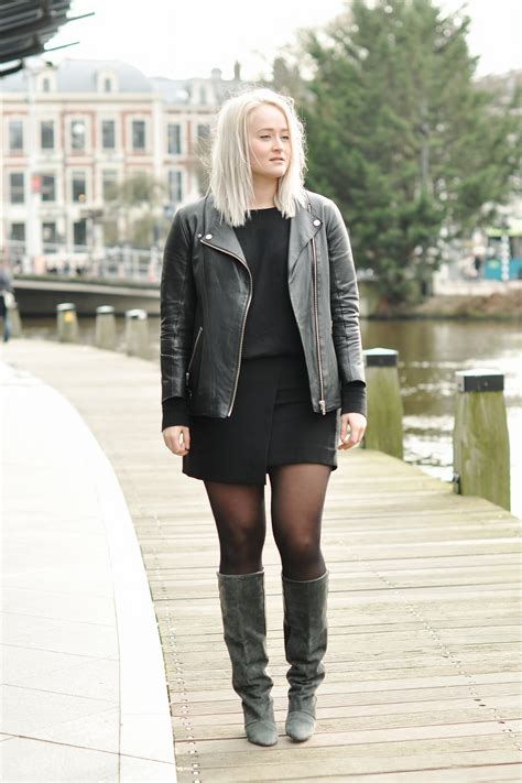 Outfit Isabel Marant Boots Leather Jacket Hm Trend Skirt 2