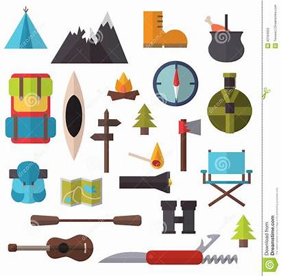 Camping Hiking Clipart Equipment Illustration Clothes Clip