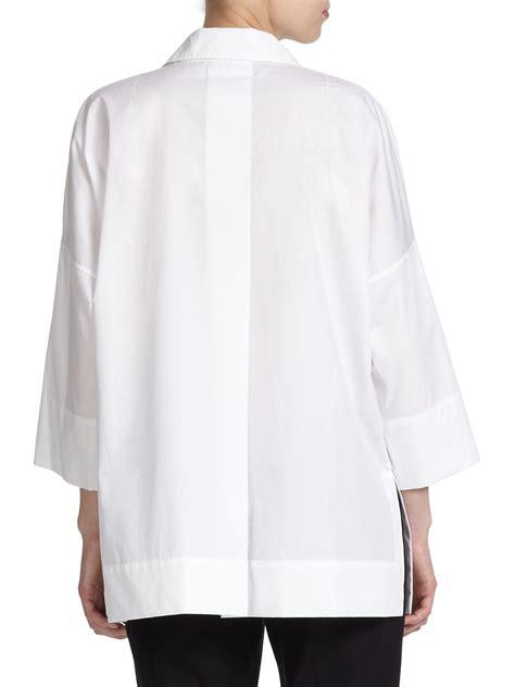cotton blouses escada cotton tunic blouse in white lyst