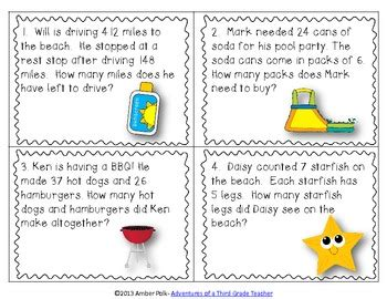 Here's A Set Of 24 Summer And Beach Themed Task Cards With Story Problems Using The Operations