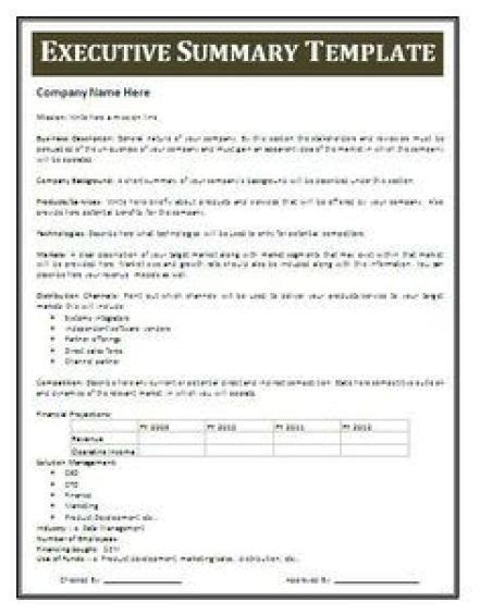 Resume Executive Summary Exle by 13 Executive Summary Templates Excel Pdf Formats