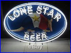 Vtg LONE STAR BEER Armadillo Shield Neon Sign Bar Light