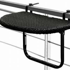 Table De Balcon Rabattable : table de balcon tablette suspendue ajustable en hauteur rabattable polyrotin noir ~ Teatrodelosmanantiales.com Idées de Décoration