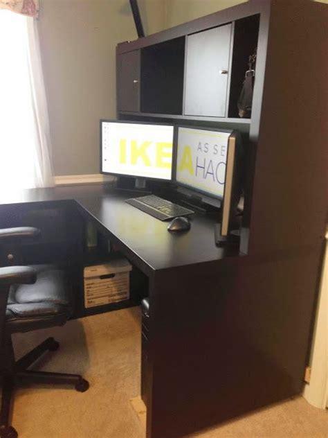ikea hackers expedit desk  hutch diy