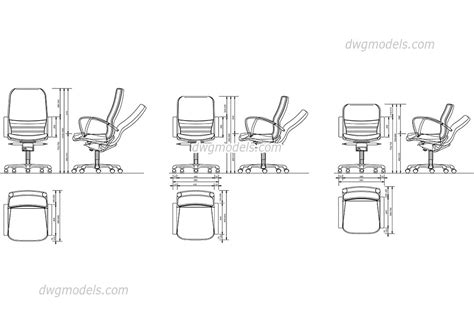 office chair cad block free autocad model