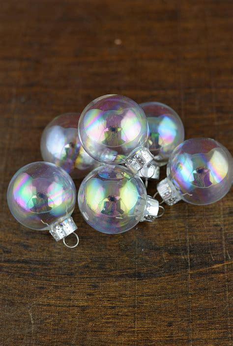 clear glass  ornament balls iridescent mm