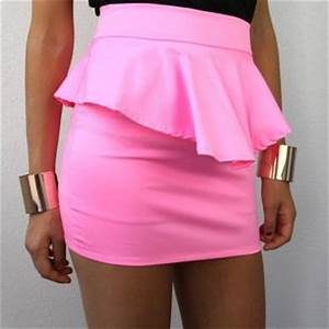 NEON PINK HIGH WAISTED PEPLUM PENCIL TUBE from spsboutique
