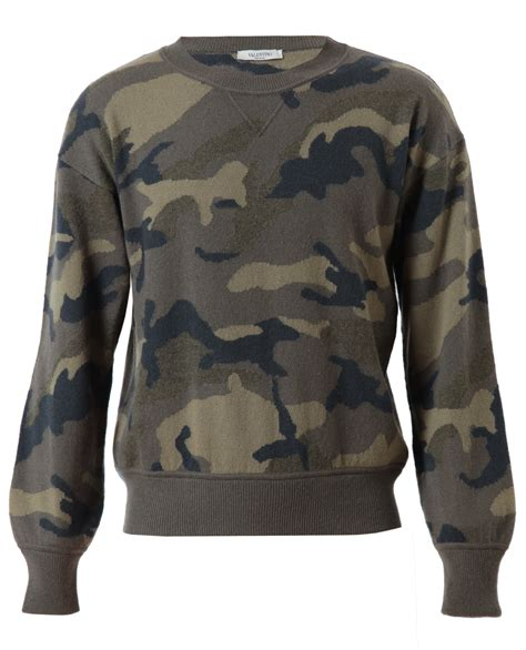 mens patterned sweaters valentino camouflage patterned sweater in khaki
