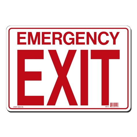 Lynch Sign 14 In X 10 In Emergency Exit Sign Printed On