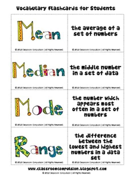 free median mode range flashcards by classroom