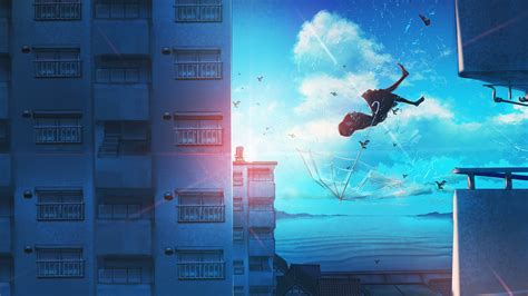 1920x1080 Anime Girl Falling Laptop Full Hd 1080p Hd 4k Wallpapers Images Backgrounds Photos