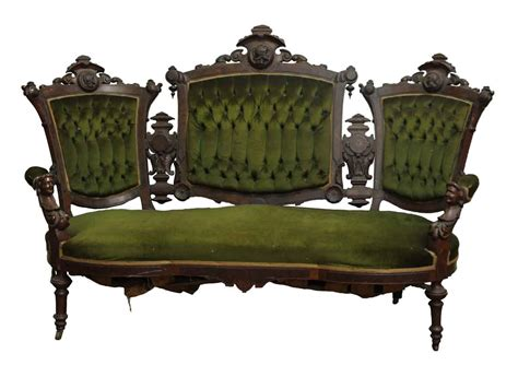 green settee carved pottier and stymus mahogany green velvet