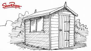 How to draw a garden shed - YouTube