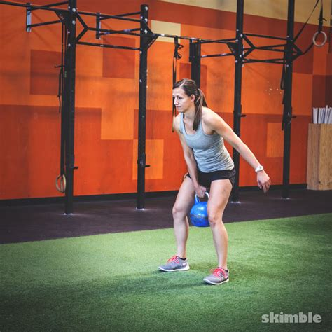 kettlebell squat clean right exercise thrusters press swing treadmill workout incline speed skimble exercises muscle strength categories kettlebells groups step