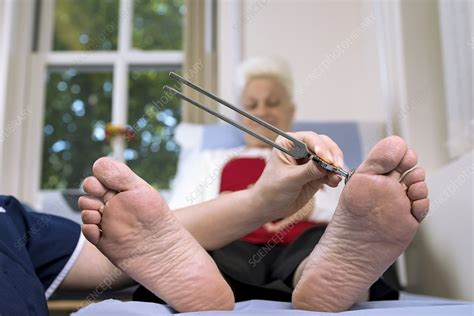 diabetes clinic tuning fork test stock image