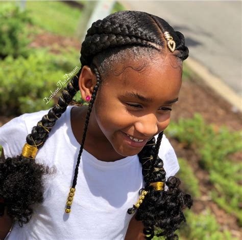 feed in braid style for natural kids hair natural kids