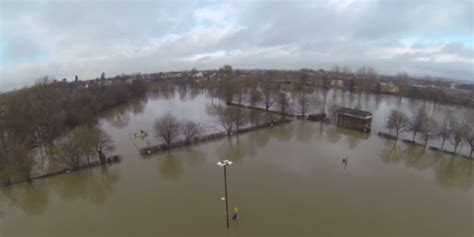 awesome aerial video   frankwell floods love shrewsbury
