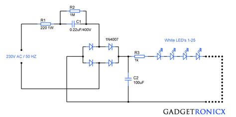 Mains Operated Led Light Circuit Diagram