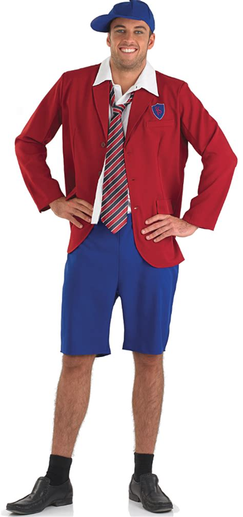 School Boy Uniform Mens Fancy Dress Costume Party Adults Outfit + Cap + Tie New