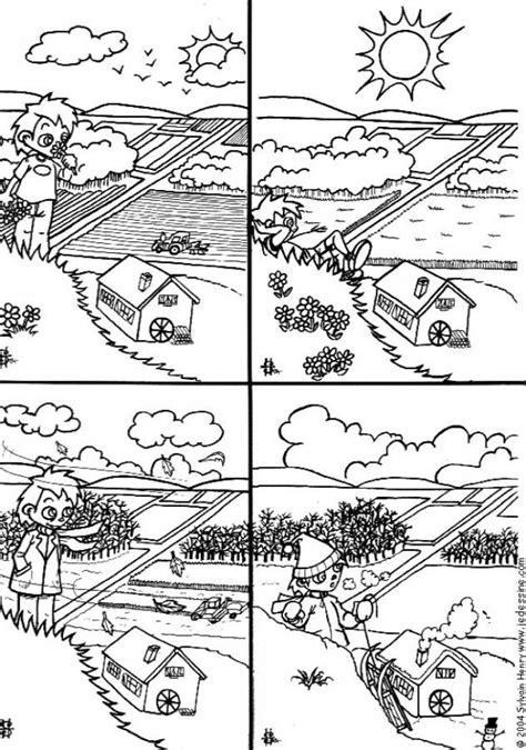 coloriage les quatres saisons dessin gratuit  imprimer