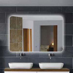 36 x 28 In Horizontal LED Backlit Mirror, Touch Button