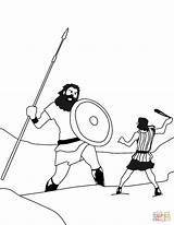 David Goliath Coloring Pages Drawing Printable Fighting Fight King Print Paper Dot Crafts Game sketch template