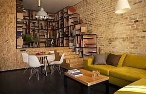 vintage exposed brick wall living room interior decor With interior decoration items for living room