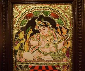 Butter Krishna Tanjore Painting-Online Shopping-