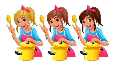 dessin animé cuisine fille avec une cuillère cuisine trois personnages de